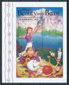 [107479] St. Vincent 1992 Disney Beauty and the Beast Souvenir Sheet MNH