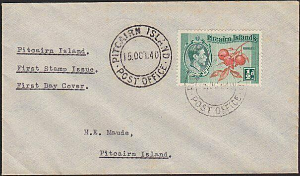 PITCAIRN 1940 ½d on FDC addressed locally to H E Maude......................5785