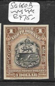 NORTH BORNEO (P2603B) $1.00  ARMS, LION SG 180B IMPERF SINGLE NGAI