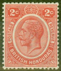 British Honduras 1926 2c Rose-Carmine SG128 V.F Very Lightly Mtd Mint