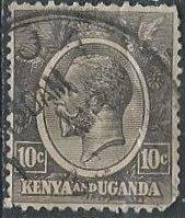 Kenya & Uganda 22 (used, pulled corner) 10p George V, black (1927)