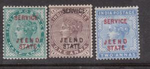 India Jind #O4 #O5 #O6 Mint Fine - Very Fine Original Gum Hinged Set