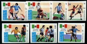 HERRICKSTAMP LAOS Sc.# 612-18 Soccer Cup 1986 Imperf