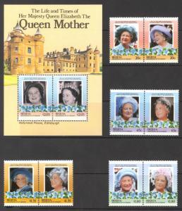 St. Vincent Grenadines Bequia Sc#206-210 MNH 1985 Queen Mother Elizabeth