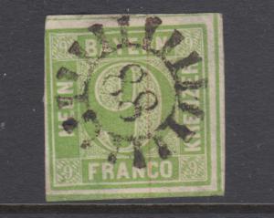Bavaria Sc 6 used. 1850-58 9kr yellow green Numeral, 88 closed Millwheel cancel