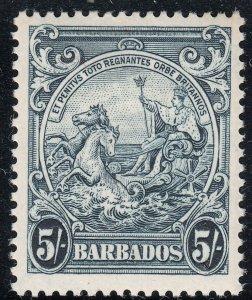Barbados 1941 KGVI 5/- Indigo MH