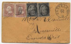 1867 Cleveland Ohio to Canada 2x Blackjack 10 cent cover [Y1011]