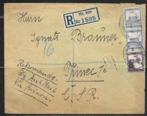 1934 Palestine Registered Tel Aviv (8 AU) to Trinec Czechoslovakia