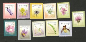 SLOVENIA - 11 STAMPS - FLOWERS -FLORA - 2007.