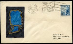#734-UL DETROIT, MICH. FIRST DAY COVER BY G. ROESE CACHET BN2537