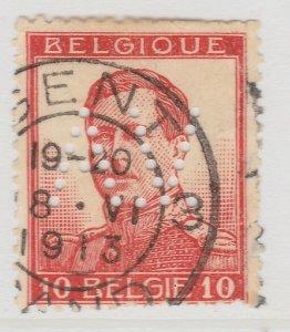 Perfin Belgium 1912-13 10c Used Stamp A19P48F967