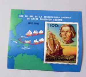 Romania - 3774, MNH S/S. Discovery of America. SCV - $1.50
