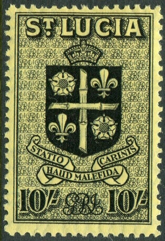 ST LUCIA-1938-48 10/- Black/Yellow Sg 138 LIGHTLY MOUNTED MINT V49021