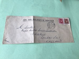 Egypt Alexandria On His Majesty's Service   stamps cover  Ref 53409