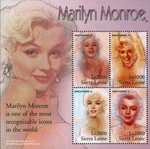 Sierra Leone MNH S/S Marilyn Monroe 4 Stamps