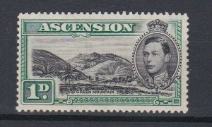 ASCENSION  1938  S G 39 1D BLACK  & GREEN PERF 131/2 MNH