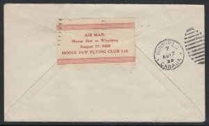 Canada CLP7 - Moose Jaw Aug. 17, 1928 tied on cover to Winnipeg, w/ Greene Cert