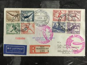 1936 Hindenburg Zeppelin Germany LZ 129 Olympics Cover to USA comp set # B82-B89