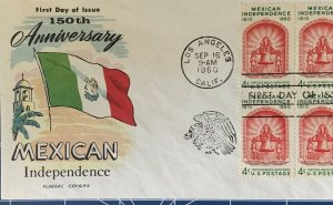 FLUEGEL 1157 Mexican Independence Mission 150th Ann. Los Angeles, CA Block of 4