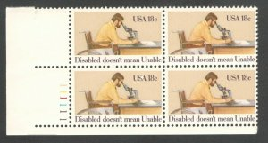 1925 International Year Of The Disabled Plate Block Mint/nh (Free Shipping)