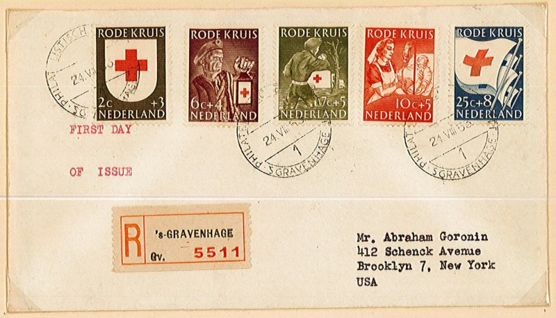 Netherlands 1953 set of 5 first day cover