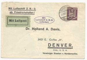 Germany Scott #C24 on Cover to Denver Colorado USA September 15, 1924 Luftpost