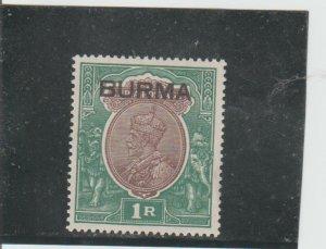 Burma  Scott#  13  MH  (1937 Overprinted)