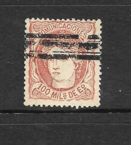 SPAIN 1870  100m RED BROWN  GU  SG 178a