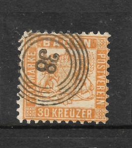 BADEN  1862-65  30kr  ORANGE  FU  Sc 25  SG 38