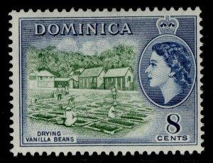 DOMINICA QEII SG149, 8c deep green & deep blue, NH MINT.