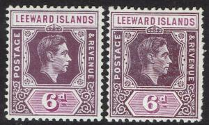 LEEWARD ISLANDS 1938 KGVI 6D BOTH PAPERS MNH **