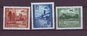 J21272 Jlstamps 1949 Yugoslavia Trieste Zone B mlh #C18-20, UPU airplanes