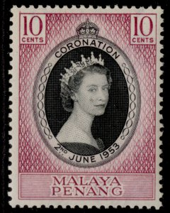 MALAYSIA - Penang QEII SG27, 10c black & reddish purple 1953 CORONATION, M MINT.
