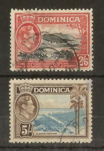 Dominica 1938 2/6d & 5/- Used Cat£18