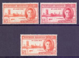 Northern Rhodesia Scott 46/46a/47 - SG46/46a/47, 1946 Victory Set + perf MH*