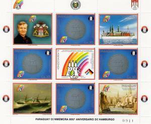 Paraguay 1989 Germany Coin/Ships Shlt (4+5L) Sc C785