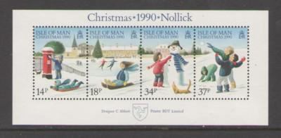 Isle of Man Sc 439a 1990  Christmas stamp souvenir sheet mint NH