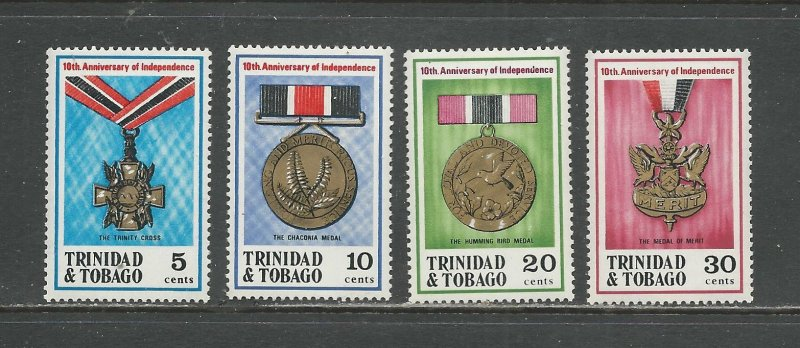 Trinidad & Tobago MNH 219-22 10th Anniversary Of Independence & Medals