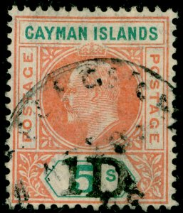 CAYMAN ISLANDS SG19, 1d on 5s salmon & green, FINE USED. Cat £400.