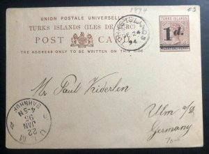 1894 Turks Island Postal Stationary Postcard Cover To Ulm Germany