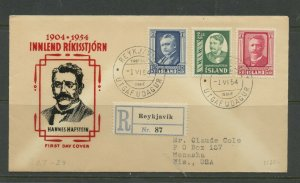 ICELAND SCOTT# 284-286 NATIVE MINISTER REGISTERED FDC TO WISCONSIN AS SHOWN