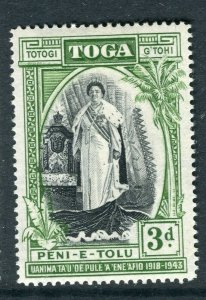 TONGA; 1944 early Queen Salote Silver Jubilee issue Mint hinged 3d. value