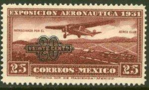 MEXICO C45, 20¢ ON 25¢ AERONAUTIC EXHIB. SURCHARGED, MINT, NH. VF