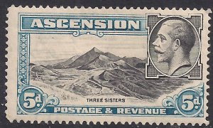 Ascension Island 1934 KGV 5d Three Sisters MM SG 26 ( B117 )