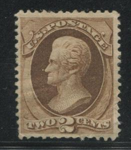 1873 US Stamp #157 2c F/VF Mint Disturbed Gum Hinged Catalogue Value $325