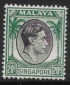 SINGAPORE SG9 1948 20c BLACK & GREEN MTD MINT