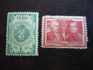 Stamps - Cuba - Scott# 394-395 - Mint Hinged Set of 2 Stamps
