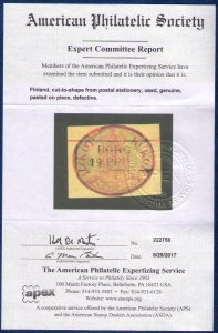 FINLAND Sc #2 Used Cut To Shape APS Cert with Town Cancellation Cat.$100.00