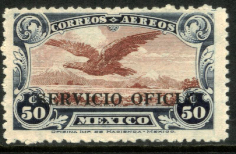 MEXICO CO19, 50c OFFICIAL AIR MAIL. UNUSED, OG. F-VF.