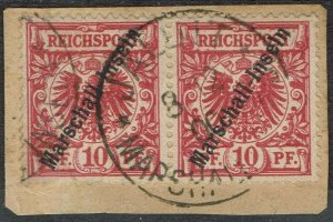 MARSHALL ISLANDS 1897 EAGLE OVERPRINTED MARSCHALL INSELN 10PF PAIR USED ON PIECE